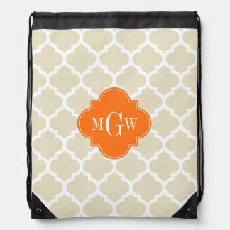 Beige, monograma inicial de la calabaza 3 blancos mochila
