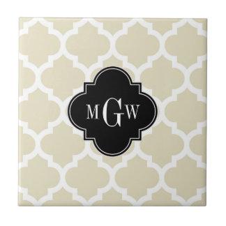 Beige, monograma inicial del negro 3 blancos del azulejo cuadrado pequeño