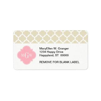 Beige, monograma inicial del rosa 3 blancos del etiqueta de dirección