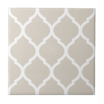 Beige Moroccan Quatrefoil Patterned Ceramic Tile