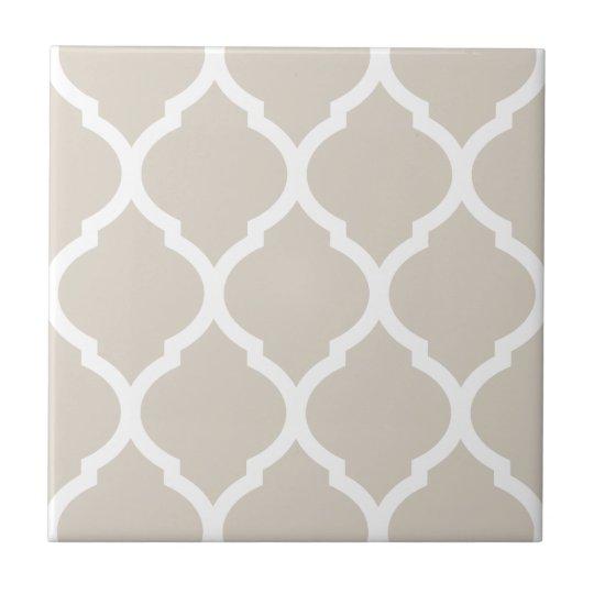 Beige Moroccan Quatrefoil Patterned Ceramic Tile | Zazzle.com