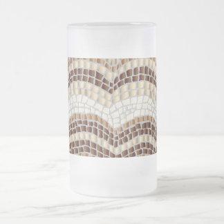 Beige Mosaic 16 oz Frosted Glass Mug
