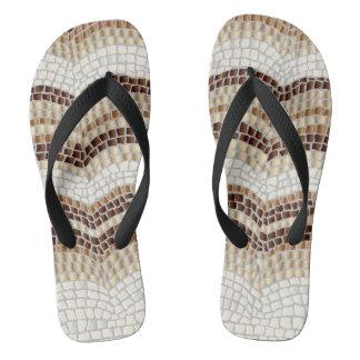 Beige Mosaic Adult Wide Straps Flip Flops