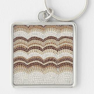 Beige Mosaic Large Square Premium Keychain