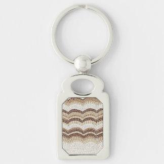 Beige Mosaic Rectangle Metal Keychain