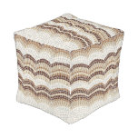 Beige Mosaic Small Outdoor Cubed Pouf