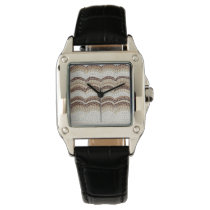 Beige Mosaic Women's Square Black Leather Watch