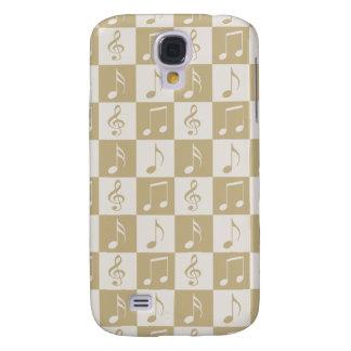 Beige Musical Checker Pattern Galaxy S4 Case