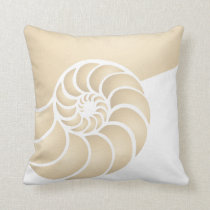 Beige Nautilus Nautical Seaside Throw Pillow