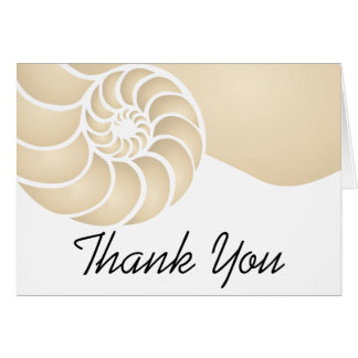 Beige Nautilus Shell Thank You Card