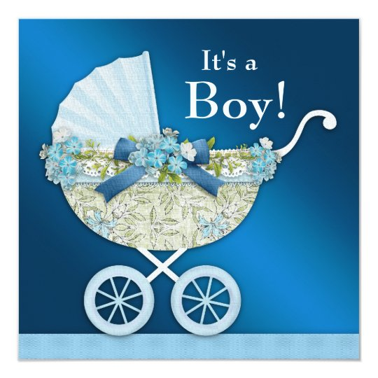 Beige Navy Blue Baby Carriage Boy Shower Card