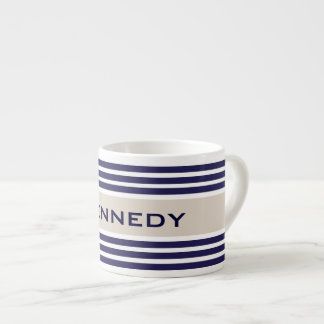 Beige & Navy Blue Stripes Custom Monogram Espresso Mug
