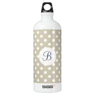 Beige Neutral Polka Dots Stylish  Modern Chic Aluminum Water Bottle