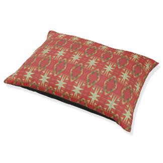 Beige Orange Red Brown Rustic Mosaic Pattern Dog Bed