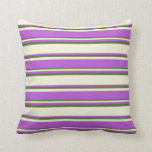 [ Thumbnail: Beige, Orchid, and Dark Olive Green Colored Lines Throw Pillow ]