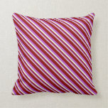 [ Thumbnail: Beige, Orchid, and Dark Red Colored Lines Pillow ]