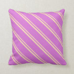 [ Thumbnail: Beige & Orchid Colored Stripes/Lines Pattern Throw Pillow ]