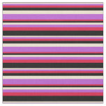 [ Thumbnail: Beige, Orchid, Crimson, and Black Colored Stripes Fabric ]