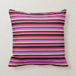 [ Thumbnail: Beige, Orchid, Crimson, and Black Colored Stripes Throw Pillow ]
