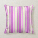 [ Thumbnail: Beige & Orchid Lined Pattern Throw Pillow ]