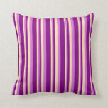 [ Thumbnail: Beige, Orchid & Purple Stripes Throw Pillow ]