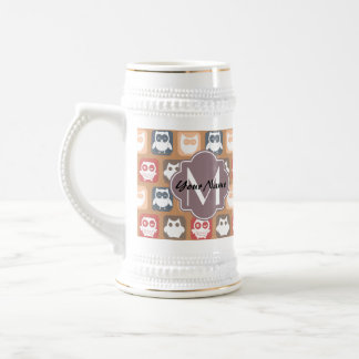 Beige Owls Personalized Monogram and Name Beer Stein