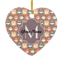 Beige Owls Personalized Monogram and Name Ceramic Ornament