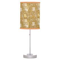 Beige paisley Owls   pattern Table Lamp