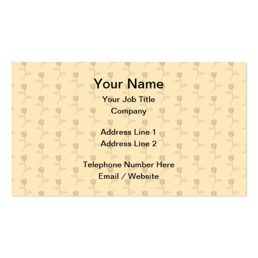 Beige pattern of roses. business card