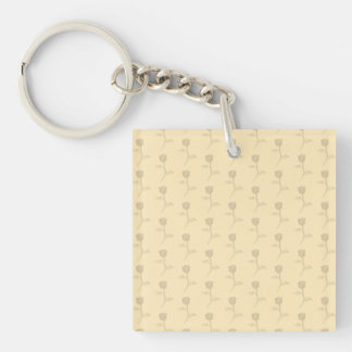 Beige pattern of roses. square acrylic keychains