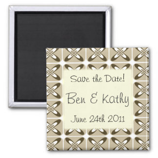 "Beige Pattern ""Save the Date"" Magnet"