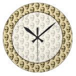 Beige Pattern with Skulls. Clock