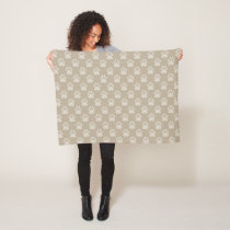 Beige Paw Prints Pattern Fleece Blanket