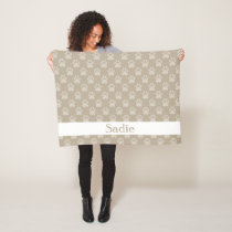 Beige Paw Prints Pattern With Custom Name Fleece Blanket