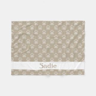 Beige Paw Prints Pattern With Custom Name Fleece Blanket