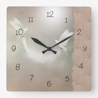 Beige Peaceful Doves Numbered Wall Clock