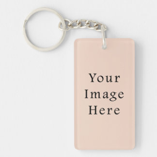 Beige Peach Pink Color Trend Blank Template Rectangle Acrylic Key Chains