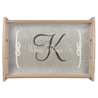 Beige Personalized Monogram Serving Tray