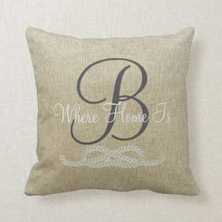 Beige Personalized Nautical Family Throw Pillow