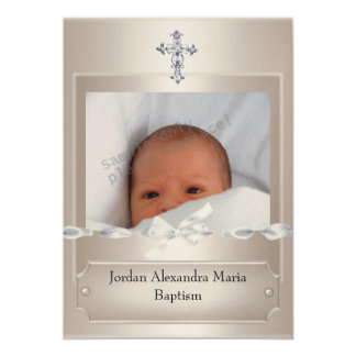 Beige Photo Frame Jewel Cross Baptism long 5x7 Paper Invitation Card