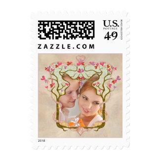 Beige photo hearts tree stamps stamp