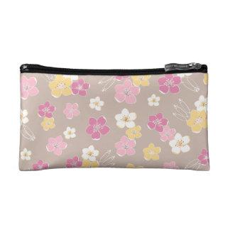Beige pink hawaiian flowers rural chic travel makeup bag