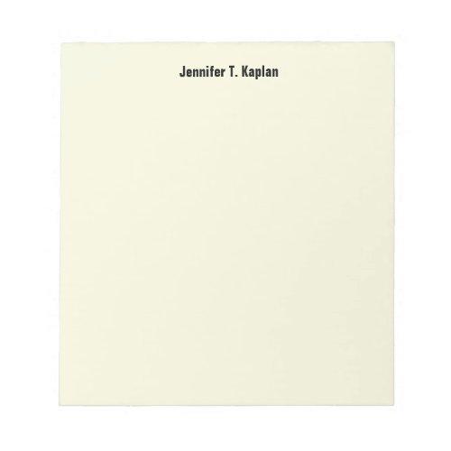 Beige Plain Simple Professional Modern Minimalist Notepad