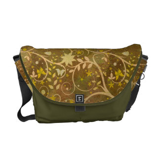 Beige Plants Messenger Bag