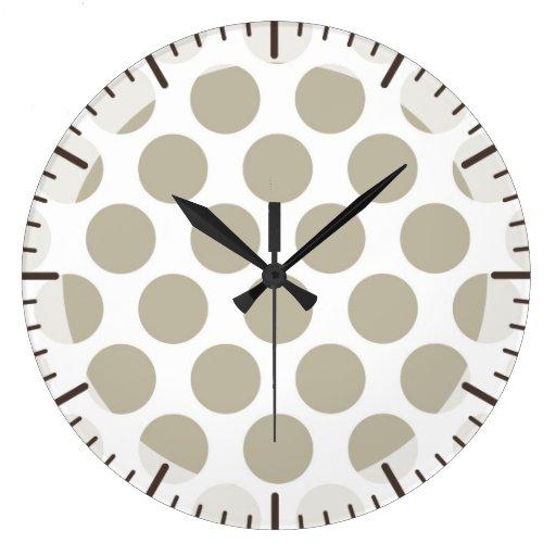 Beige Polkadot de la arpillera Reloj Redondo Grande