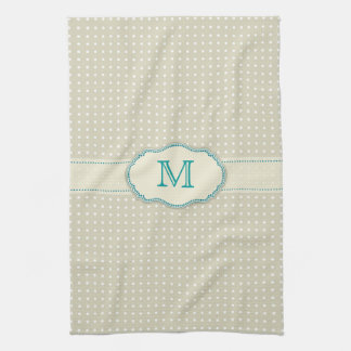 Beige Polkadot Pattern-Monogram Hand Towel