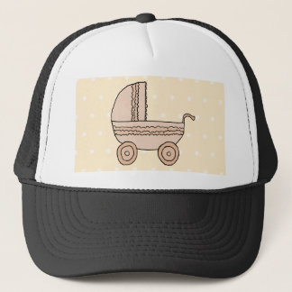Beige Pram. On spotty background. Trucker Hat