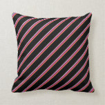 [ Thumbnail: Beige, Purple, Coral & Black Lines Throw Pillow ]