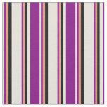 [ Thumbnail: Beige, Purple, Dark Salmon & Black Colored Lines Fabric ]