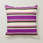 [ Thumbnail: Beige, Purple, Dark Salmon & Black Colored Lines Throw Pillow ]